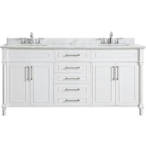 Aberdeen 72 in. W x 22 in. D Bath Vanity in White with Carrara Marble Top with White Sinks