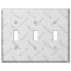 Diamond Plate 3 Gang Toggle Aluminum Wall Plate - Aluminum
