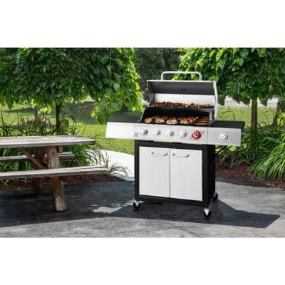 5-Burner Propane Gas Grill in Stainless Steel with TriVantage Multifunctional Cooking System