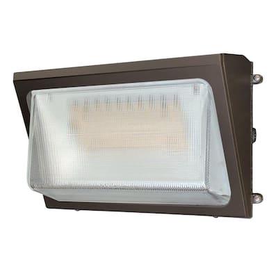 WPM 250-Watt Equivalent 9800 Lumens Integrated LED Bronze Outdoor Medium Wall Pack Light, 4000K Bright White