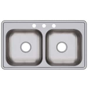 Dayton 33 x 19 in. Drop-In Kitchen Sink with Stainless Steel Double Bowl