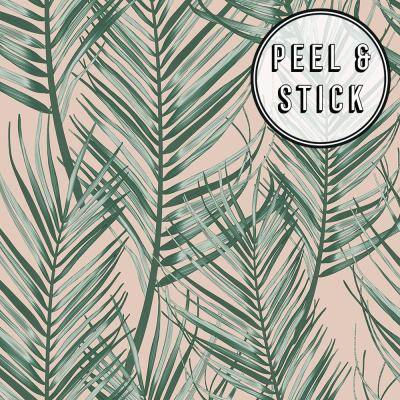 Green & Pink Vinyl Peel & Stick Repositionable Wallpaper Roll (Covers 30.75 Sq. Ft.)