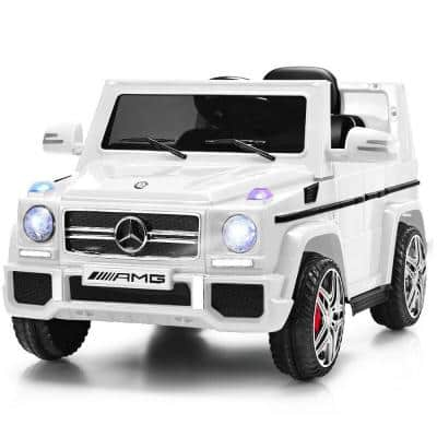 Mercedes Benz G65 Licensed 12-Volt White Electric Kids Ride On Car RC Remote Control