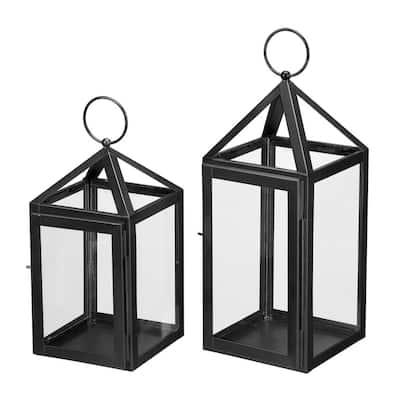 Black Powder Coated Metal Candle Hanging or Tabletop Lantern (Set of 2)