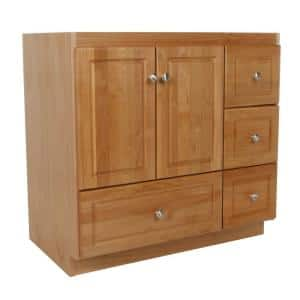 Ultraline 36 in. W x 21 in. D x 34.5 in. H Simplicity Vanity with Right Drawers in Natural Alder
