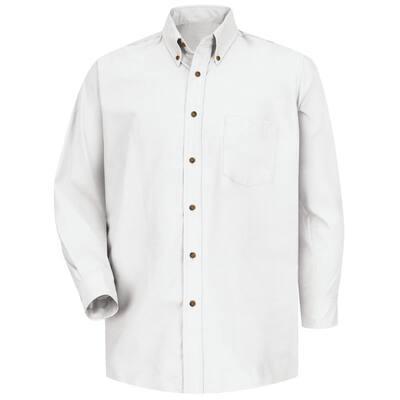 Men's Size 36/37 (Tall) White Poplin Dress Shirt