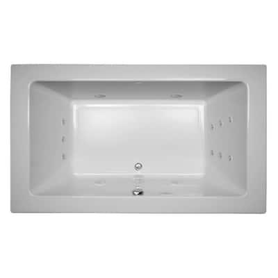 SIA 72 in. x 42 in. Acrylic Right-Hand Drain Rectangular Drop-In Whirlpool Bathtub in White
