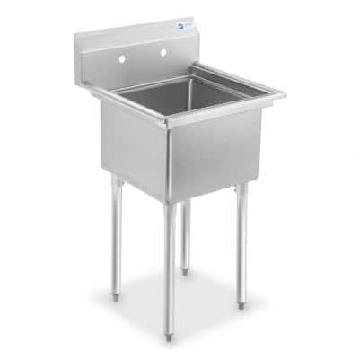 23.5 in. Freestanding Stainless Steel 1-Compartment Commercial Kitchen Sink