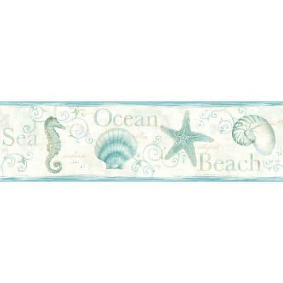 Island Bay Teal Seashells Teal Wallpaper Border Sample