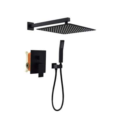 1-Spray Square High Pressure Wall Bar Shower Kit Bathroom Shower System with Shower Faucet in Black