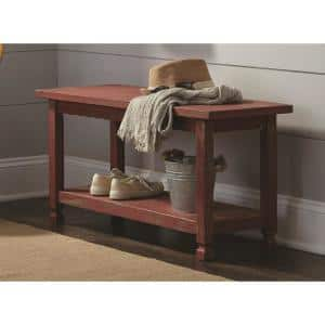 Country Cottage Red Antique Bench