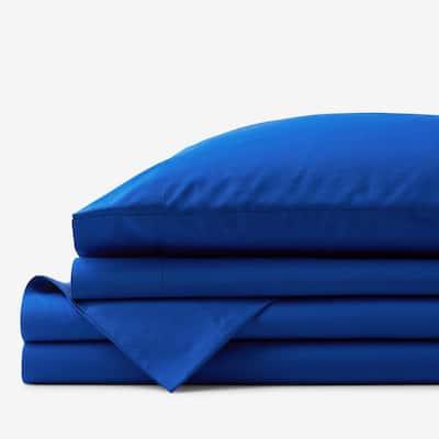 Company Cotton 4-Piece Classic Blue 300-Thread Count Cotton Percale California King Sheet Set