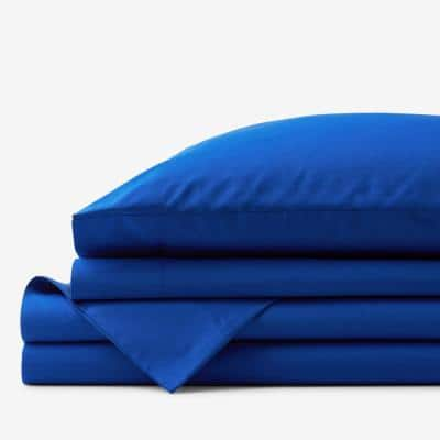 Company Cotton 4-Piece Classic Blue 300-Thread Count Cotton Percale Full Sheet Set