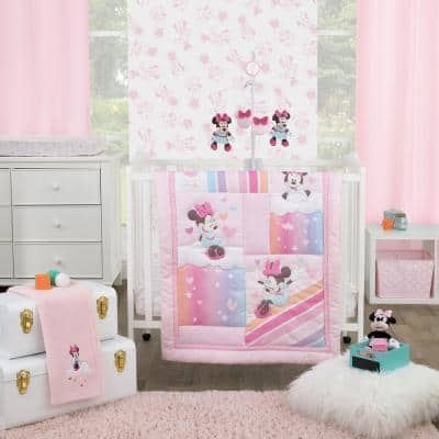 Minnie Mouse Rainbow, Stars, and Clouds 3-Piece Nursery Mini Crib Bedding Set (Comforter and 2-Fitted Mini Crib Sheets)