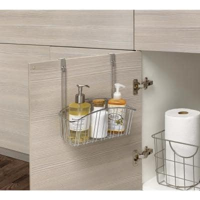 Contempo 10.5 in. W x 6.375 in. D x 14 in. H Over the Cabinet Medium Basket in Chrome