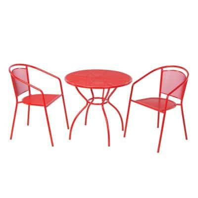 Martini Cherry Pie 3-Piece Metal Outdoor Bistro Set with Round 21 in. Bistro Table and 2 Stackable Bistro Chairs
