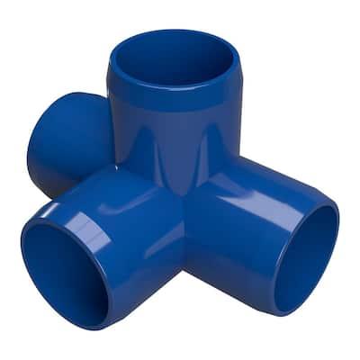1-1/4 in. Furniture Grade PVC 4-Way Tee in Blue (4-Pack)