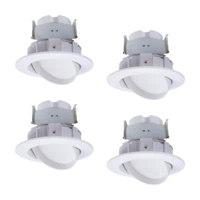 4 in. 2700K-5000K White Integrated LED Recessed Light Adjustable Gimbal Retrofit Trim with Selectable CCT (4-Pack)