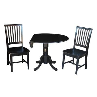 Brynwood 3-Piece 42 in. Black Round Drop-Leaf Wood Dining Set with Mission Chairs