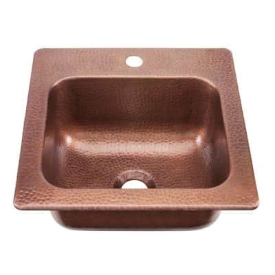 Seurat Drop-In Solid Copper 15 in. 1-Hole Single Bowl Kitchen Sink in Hammered Antique Copper