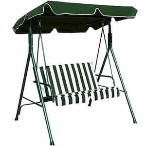 2-Person Steel Loveseat Cushioned Patio Swing in Green