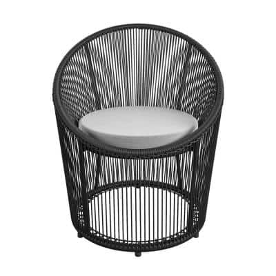 CosmoLiving by Cosmopolitan Taura Black Resin Rope and Metal Outdoor Lounge Chair with Gray Cushion
