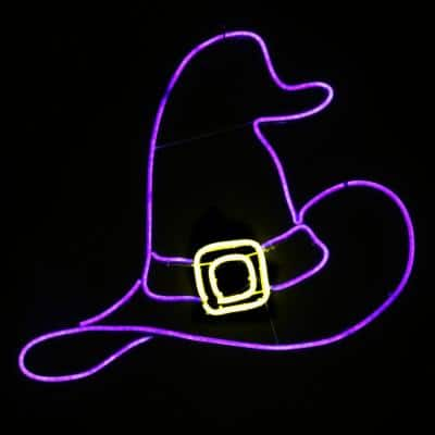 24 in. 2D Neon White Witch Hat with LED Halloween Light