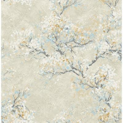 Cherry Blossoms Metallic Champagne, Brown, and Sky Blue Paper Strippable Roll (Covers 56.05 sq. ft.)