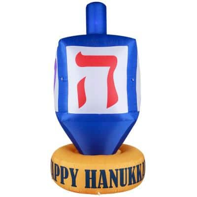 Giant Hanukkah Inflatable Dreidel - Yard Decor with Built-In Bulbs, Tie-Down Points and Powerful Built-In Fan