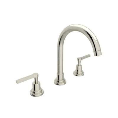 Lombardia 8 in. Widespread 2-Handle High-Arc Bathroom Faucet in Polished Nickel