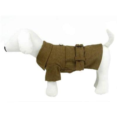 Small Static Olive Green Galore Back-Buckled Fashion Wool Dog Coat