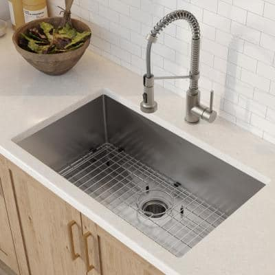 Standart PRO All-in-One Undermount Stainless Steel 30 in. Single Bowl Kitchen Sink with Faucet in Stainless Steel