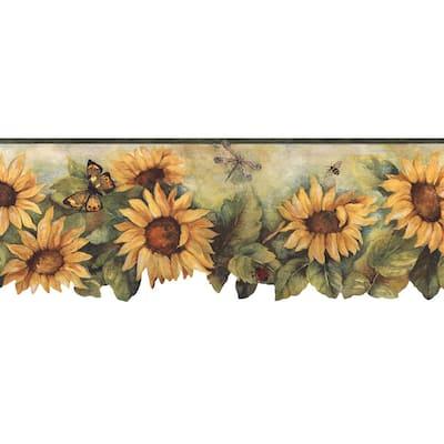 Die Cut Sunflower Mustard , Shades of Green Wallpaper Border