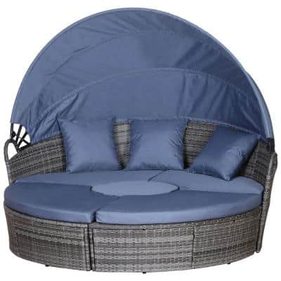 Grey 5-Piece Cushioned Plastic Rattan Wicker Outdoor Sunbed or Conversational Sofa Set with Sun Canopy and Blue Cushions