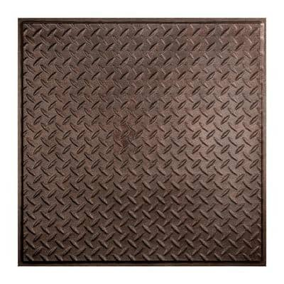 Diamond Plate 2 ft. x 2 ft. Smoked Pewter Lay-In Vinyl Ceiling Tile (20 sq. ft.)