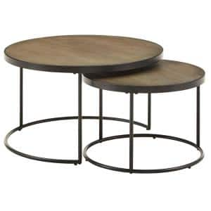 30 in. Gray Medium Round Wood Coffee Table with Faux Stingray Top