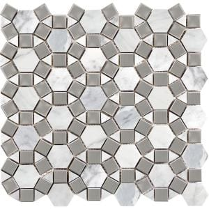 Marble Winter Frost Honed 12.01 in. x 12.01 in. x 10 mm Marble Mesh-Mounted Mosaic Tile (0.97 sq. ft.)