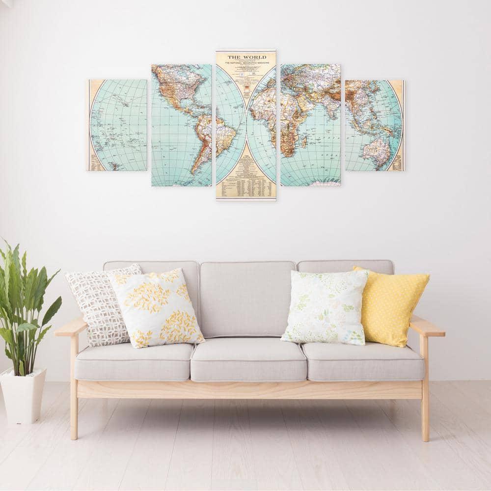 Pinnacle Green Vintage World Map 5 Panel Canvas Set Wall Art 1807 3812 The Home Depot