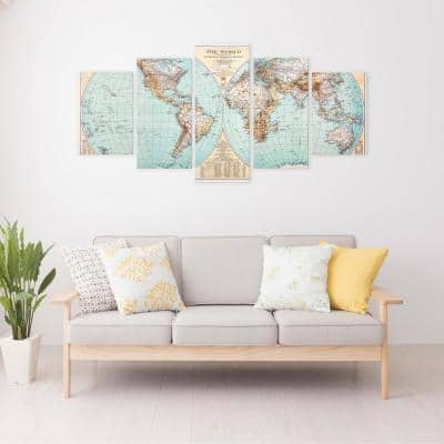 Green Vintage World Map 5 Panel Canvas Set Wall Art