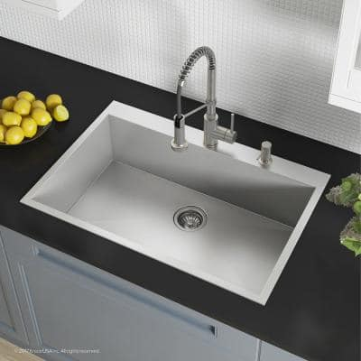 Pax Drop-In Stainless Steel 33in. 2-Hole Single Bowl Kitchen Sink