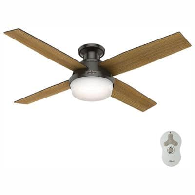 Dempsey 52 in. Low Profile LED Indoor Noble Bronze Ceiling Fan with Light and Remote