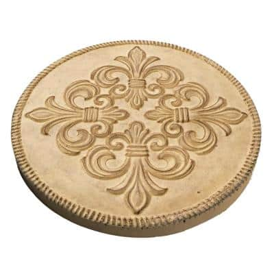 12 in. Dia x 1 in. H Composite Fleur de Lis Stepping Stones in Aged Ivory (Set of 3)