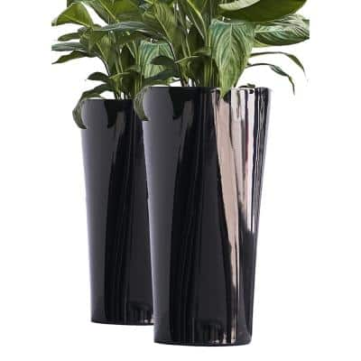 Xbrand 22 in. Tall Black Plastic Nested Self Watering Indoor/Outdoor Triangle Planter Pot with Glossy Finish (Set of 2)