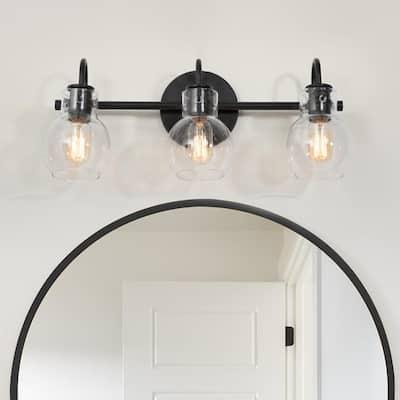 22 in. 3-Light Modern Black Bathroom Vanity Light Interior Powder Room Lighting with Clear Globe Shades
