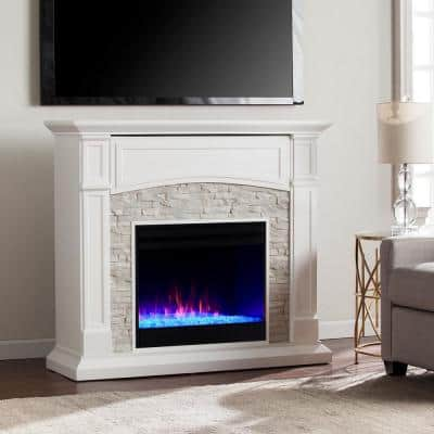 Ernesto Color Changing 46 in. Electric Fireplace in White