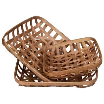 Brown Lattice Square Table Top Tobacco Baskets (Set of 3)