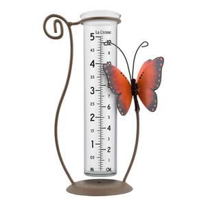 5 inch capacity Glass Orange Butterfly Rain Gauge