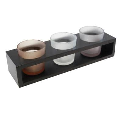 Trio Candle Tray with 3 Glass Votives