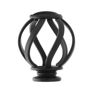 Mix and Match Swirl Cage 1 in. Curtain Rod Finial in Matte Black (2-Pack)