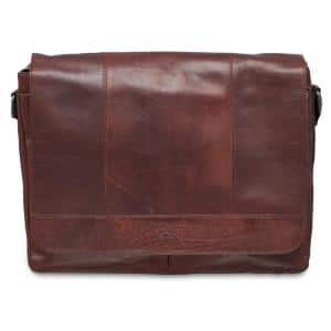 Buffalo Collection Brown Leather Messenger Bag for 15 in. Laptop